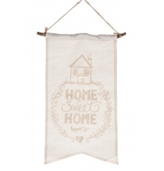 A pretty shabby chic style cotton banner with Home Sweet Home sign and illustration.