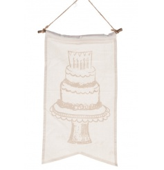 A pretty shabby chic style cotton banner with a cake illustration.
