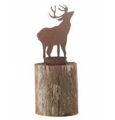 A rustic style candle holder with a metal rust/copper reindeer decoration.