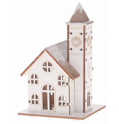 A charming wooden church ornament with snow covered roof and light up feature.