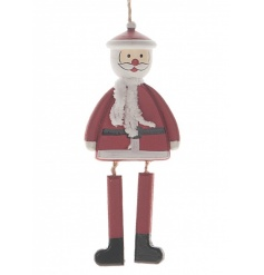 A jolly santa wooden hanging ornament with jointed legs.