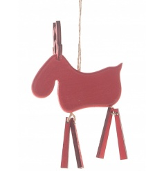 A rustic style wooden moose decoration with jute hanger and jointed legs.