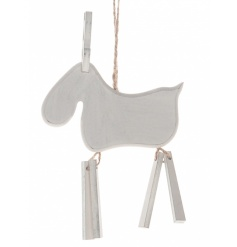 A charming wooden hanging moose decoration with jointed legs.