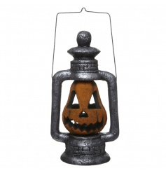Add some eerie light to the home with this metallic effect lantern with colour led lights.