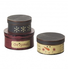 A set of 3 stackable wooden gift and storage boxes in a cute snowman design.