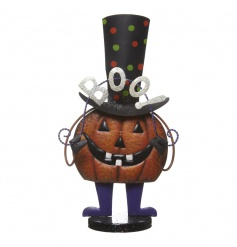 A frightfully fun bobbing metal pumpkin ornament. Perfect for home and party decoration during this holiday.