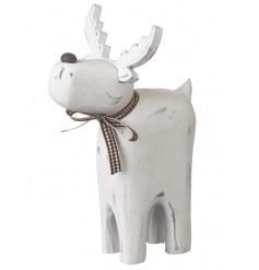Shabby chic white design wooden reindeer ornament with a gingham bow.