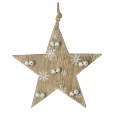 A gorgeous wooden star decoration with printed snowflakes and mini white bells.