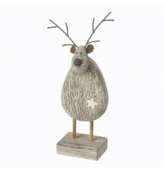 A natural wooden standing reindeer figure with a star detail and metal antlers.