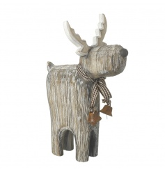 A gorgeous natural wooden reindeer ornament with a gingham bow and rustic bells.