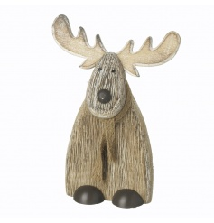 A charming wooden reindeer decoration with a classic hessian scarf. An adorable reindeer figure this season.