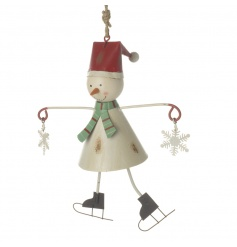 A gorgeous vintage style metal snowman decoration with ice-skates and snowflakes.