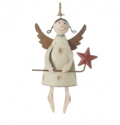 The perfect addition to any festive collection. This metal angel decoration with star wand and wings has a shabby finish