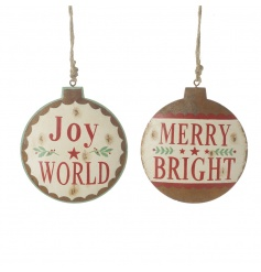 A mix of 2 charming vintage style metal baubles with popular festive slogans.