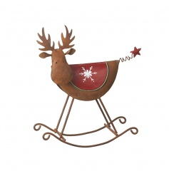 Metal moose decoration with snowflake and star design