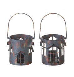 2 assorted metal house lanterns with an on trend rusted finish.