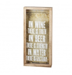 A humorous wooden sign and bottle top collector. A great gift this season!