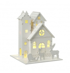 A charming and contemporary wooden house scene with LED lights creating a warming glow this season.