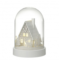 A charming winter house scene with reindeer and LED lights showcased within a stylish dome.