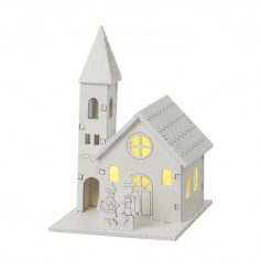 Nestle this gorgeous mini house with LED light amongst your festive decorations for a warming glow.