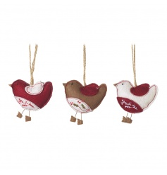 An assortment of 3 charming fabric robin decorations, each with a holly or berry embroidered design.