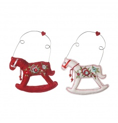 An assortment of 2 fabric rocking horse decorations with a traditional embroidered floral design.