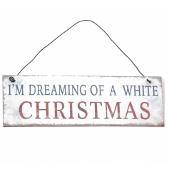 Rustic white metal festive sign