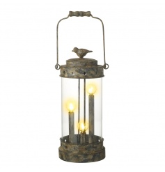 A chic and unique iron lantern decoration with LED lights inside. Finished with a cute bird ornament.