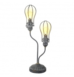 Add style to the home with this unique twin light bulb lamp with vintage iron framework.