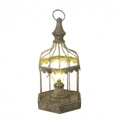 A rustic style bird cage light with a rustic finish. Creates a beautiful glow for the home.