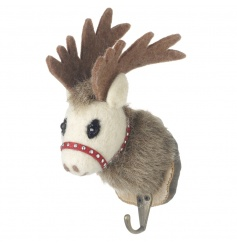 A charming reindeer hook with glitter reins. Set on a bark plaque. Perfect for stockings!