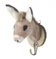 Cute woollen and felt donkey hook on a wooden mount
