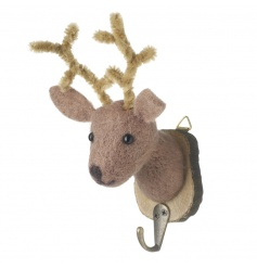 A charming woodland style wool reindeer set on a bark hook. Great for stockings!