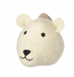 A charming polar bear head ornament to be hung from the wall. A unique decoration to be enjoyed all year.