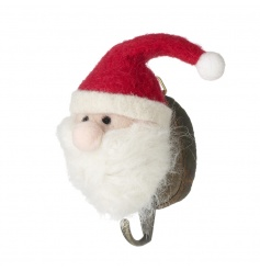 A charming wool santa decoration on bark hook. Perfect for hanging stockings!