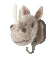 Cute woollen and felt rhino hook on a wooden mount
