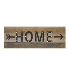 A unique and stylish led block sign with HOME text written onto a rustic style wooden panel.