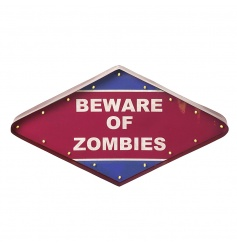 Stylish diamond shape LED sign with 'Beware of zombies' quote