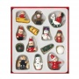 A pack of vintage inspired wooden decorations including santa, snowman and angel designs.