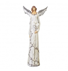 A classic and elegant angel decoration in a shabby chic style with heart and floral patterns.