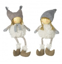 Adorable boy and girl shelf sitting decorations with grey and white festive outfits.
