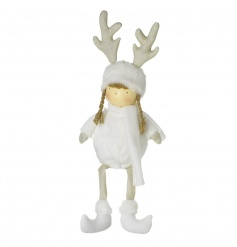 A stunning white and gold sitting girl decoration dressed in a winter outfit with sparkling antlers.