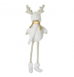 A charming hanging girl decoration dressed in a faux fur outfit with gold glitter antlers. We love it!
