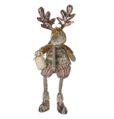 A charming reindeer with a fabulous faux fur and fabric festive outfit!