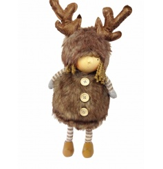 A unique and utterly gorgeous standing reindeer girl figure with faux fur winter outfit and antlers.