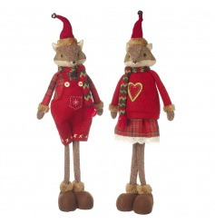 His and Hers standing fox decorations in adorable winter outfits with knitted scarves.