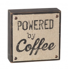 A rustic style wooden block sign with hessian printed sign. This item is finished with studs.