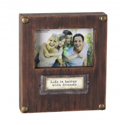 A shabby chic style wall sign and photo frame. A gorgeous chunky plaque with friendship slogan.