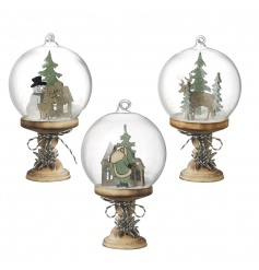 Unique wooden snow globe decorations each with a charming vintage Christmas scene.