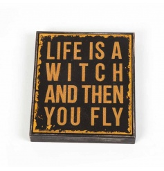 Humorous wooden Halloween sign with distressed design